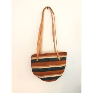 Woven Blue and Rust Market Bag With Leather Straps